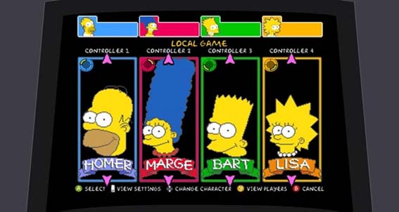 Personagens do jogo de The Simpsons